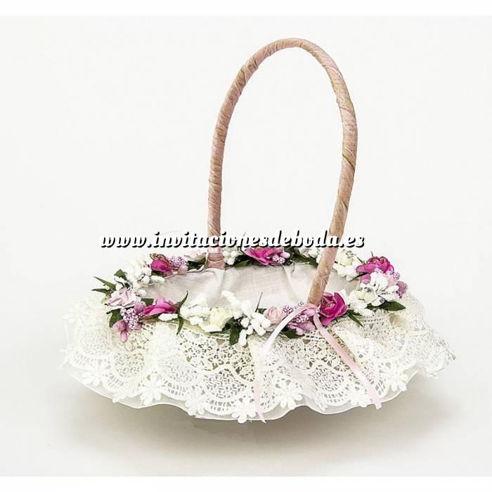 Imagen Cestas y Cojines Cestita Arras flores rosa
