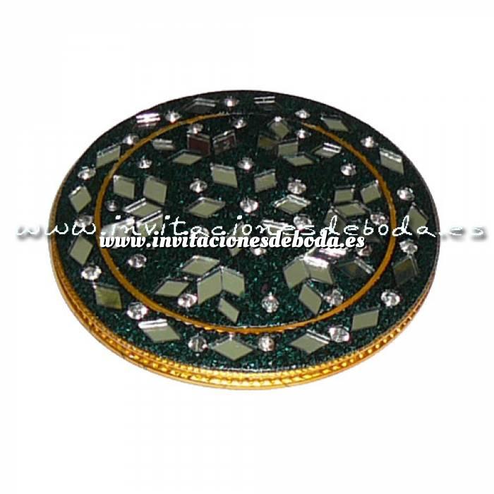Imagen Espejos, Joyeros y Bisuteria Espejo india redondo (rebordes verdes)