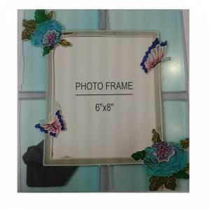 Marcos y decoración - Marco de Fotos Cristal decorado con flores y mariposas 15x20 cms (Últimas Unidades)