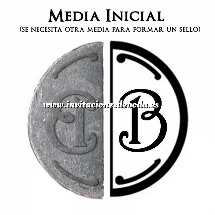 Imagen 2 Iniciales Intercambiables Placa Media Inicial B para sello vacío de lacre