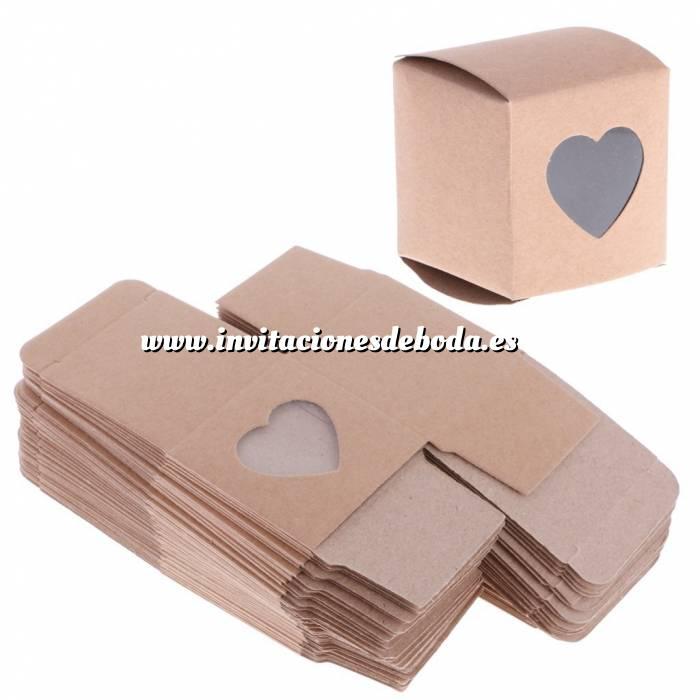 Imagen Cajitas para regalo Cajita Boda - Kraft con corazón transparente (Últimas Unidades)