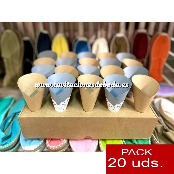Imagen Detalles para la ceremonia Conos Cucuruchos KRAFT con blonda - Pack de 20 conos (Últimas Unidades)