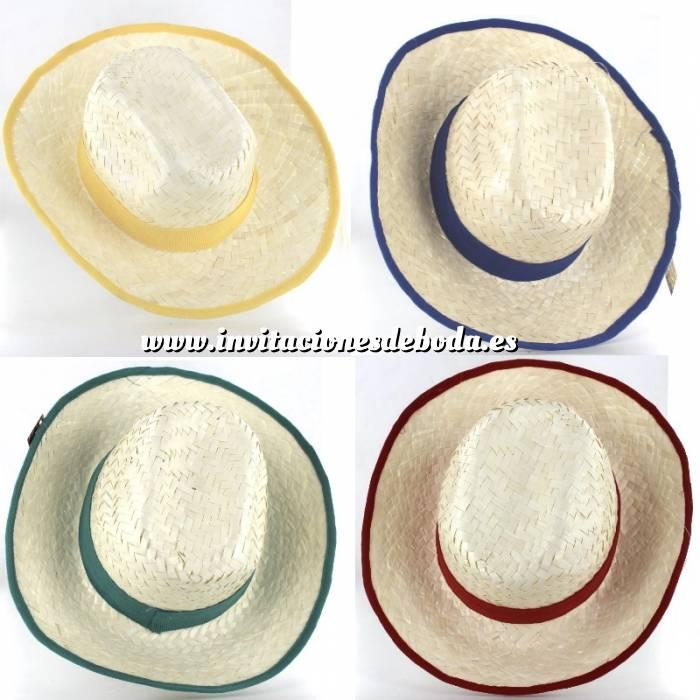Imagen Detalles para la ceremonia Sombrero Blanqueado con cinta y reborde Rojo/Verde/Amarillo Ref. 47991 - surtidos (Últimas Unidades)