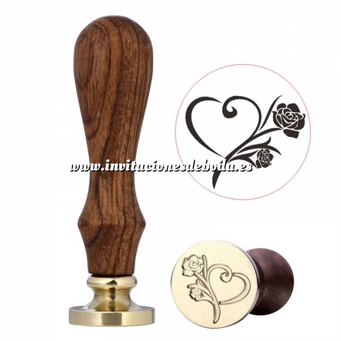 Imagen Diseños inmediatos Sello lacre mango largo - BODAS - Rosa corazón (Últimas Unidades)