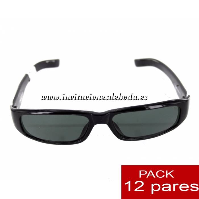 Imagen Gafas de sol Gafas de Sol alargadas negras para bodas ALTA CALIDAD- Mod. 12. PACK 12 uds (Últimas Unidades)