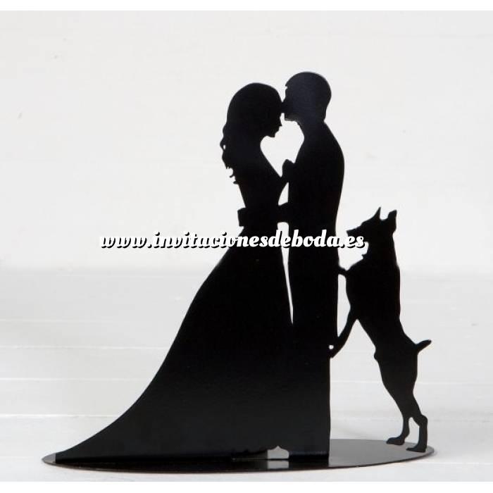 Imagen Novios tarta Clásicos Figura portavela pastel novios y perro con vela