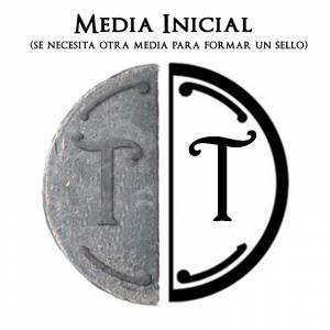 2 Iniciales Intercambiables - Placa Media Inicial T para sello vacío de lacre