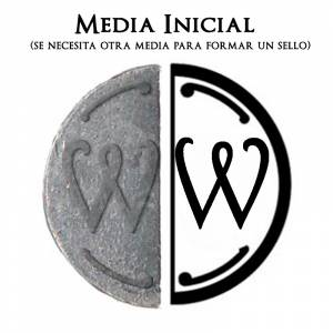 2 Iniciales Intercambiables - Placa Media Inicial W para sello vacío de lacre