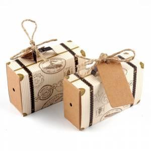 Cajitas para regalo - Cajita Boda viajeros - Maleta de viaje con cuerda y etiqueta incluida