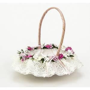 Cestas y Cojines - Cestita Arras flores rosa