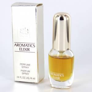 -Mini Perfumes Mujer - Aromatics Elixir (CAJA PLATEADA ESPEJO - DETERIORADA) Perfume Spray by Clinique 4ml. (Últimas Unidades)